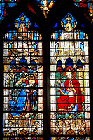 Stained glass Windows of Cathedral of Chartres, France - showing Jesus Christ and Mary. A UNESCO World Heritage Site.