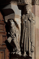 Sculpture on portal under the arches, South West facade, Basilica de San Vicente (St Vincent's Basilica), 12th century, attributed to Giral Fruchel, Avila, Castile and Leon, Spain. Located just outside the city walls on the site of the martyrdom of St Vincent. Picture by Manuel Cohen