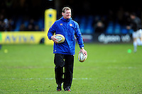 Caption/Description: Assitant Academy Manager Barry Maddocks looks on during the pre-match warm-up. Aviva Premiership match, between Bath Rugby and London Irish on March 5, 2016 at the Recreation Ground in Bath, England. Photo by: Patrick Khachfe / Onside Images
