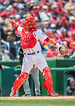 15 May 2016: Washington Nationals catcher Wilson Ramos in action against the Miami Marlins at Nationals Park in Washington, DC. The Marlins defeated the Nationals 5-1 in the final game of their 4-game series.  Mandatory Credit: Ed Wolfstein Photo *** RAW (NEF) Image File Available ***