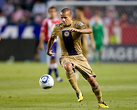 Philadelphia Union midfielder Fred (7) moving forward with the ball. The Philadelphia Union and CD Chivas USA played to 1-1 draw at Home Depot Center stadium in Carson, California on Saturday evening July 3, 2010..