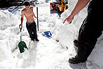 Alexander Jimenez, left, and Kevin Schott, right, work to dig out a propane tank buried under record early season snowfall in Soda Springs, Calif., January 6, 2011. California has already received 80% of its normal annual precipitation in the first two months of a rainy season that lasts another four months..CREDIT: Max Whittaker for The Wall Street Journal.CALWATER