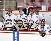 Carl Sneep (BC - 7), Philip Samuelsson (BC - 5), Greg Brown (BC - Assistant Coach), Brian Dumoulin (BC - 2), Tommy Cross (BC - 4), Brian Gibbons (BC - 17) - The Boston College Eagles defeated the University of Massachusetts-Amherst Minutemen 5-2 on Saturday, March 13, 2010, at Conte Forum in Chestnut Hill, Massachusetts, to sweep their Hockey East Quarterfinals matchup.