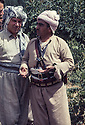 Iraq 1968 <br /> Right, Mustafa Barzani, leader of the Kurdish guerilla forces with left, Ali Abdullah, discussing with the French journalist, Eric Rouleau   <br /> Irak 1968  <br /> A droite Mulla Mustafa Barzani discutant avec le journaliste francais, Eric Rouleau, a gauche, Ali Abdullah