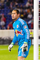 New York Red Bulls goalkeeper Luis Robles (31). D. C. United defeated the New York Red Bulls 1-0 (2-1 in aggregate) during the second leg of the MLS Eastern Conference Semifinals at Red Bull Arena in Harrison, NJ, on November 8, 2012.