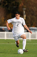 Christian Nogueira (2) of the Monmouth Hawks. Dartmouth defeated Monmouth 4-0 during the first round of the 2010 NCAA Division 1 Men's Soccer Championship on the Great Lawn of Monmouth University in West Long Branch, NJ, on November 18, 2010.