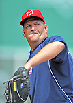 9 June 2012: Washington Nationals first base coach Trent Jewett tosses prior to a game against the Boston Red Sox at Fenway Park in Boston, MA. The Nationals defeated the Red Sox 4-2 in the second game of their 3-game series. Mandatory Credit: Ed Wolfstein Photo