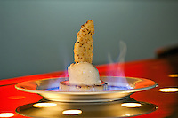 Pineapple Flambe.Grilled pineapple with vanilla bean ice cream / malta reduction, coconut shortbread cookie and flamed with Cruzan Rum