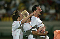 The United States' Dilly Duka (10) celebrates with his teammates after he scored a goal against Cameroon in the second half during the FIFA Under 20 World Cup Group C Match between the United States and Cameroon at the Mubarak Stadium on September 29, 2009 in Suez, Egypt.