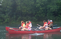 NWA Democrat-Gazette/FLIP PUTTHOFF<br /> Teenagers and their mentors canoe July 8 2015 on the White River below Beaver Dam. The paddlers explored 5 miles of river from Bertrand Access to Houseman Access.