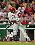 29 September 2010: Philadelphia Phillies' outfielder John Mayberry in action against the Washington Nationals at Nationals Park in Washington, DC. The Phillies defeated the Nationals 7-1 to take the rubber game of their 3-game series. Mandatory Credit: Ed Wolfstein Photo