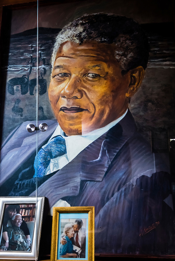 Portrait of Nelson Mandela, The Mandela Family Museum, Soweto (South Western townships), Johannesburg, South Africa. The Mandela Family House is where President Mandela and Winnie and their two daughters lived in the 1960s before Mandela went to prison.
