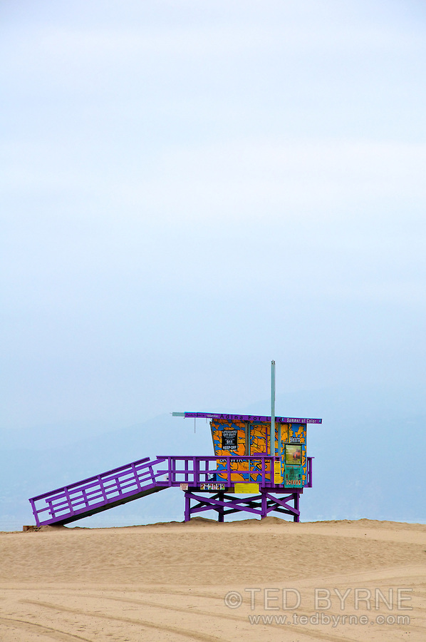 Colorful lifeguard hut on Venice Beach