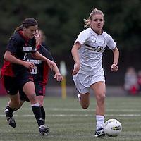 Boston College midfielder Kristen Mewis (19) brings the ball forward. Boston College defeated North Carolina State,1-0, on Newton Campus Field, on October 23, 2011.z