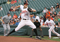 Brad Bergensen #35 of the Baltimore Orioles pitches during a MLB game against the Seattle Mariners at Camden Yards, on August 8 2010, in Baltimore, Maryland. Orioles won 5-4 in extra innings.