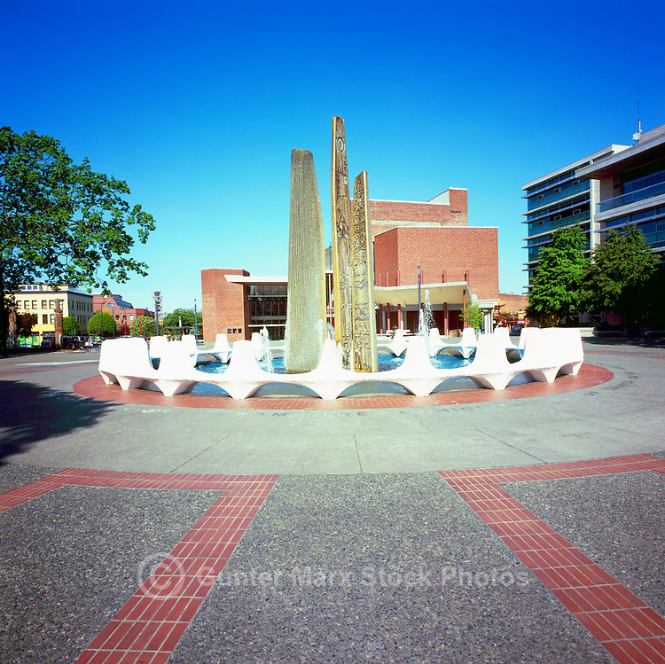 Victoria, BC, Vancouver Island, British Columbia, Canada - Fountain at Centennial Square in Old Town
