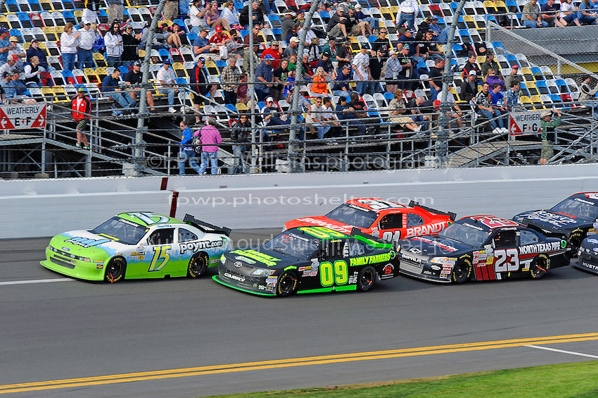 Timmy Hill (#15), Kenny Wallace (#09), Justin Allgaier (#31) and Robert Richardson, Jr. (#23)