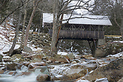 Flume Covered Bridge in Franconia Notch State Park of Lincoln, New Hampshire USA. This bridge crosses the Pemigewasset River.