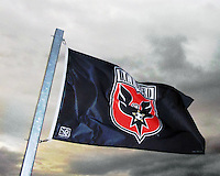 Flag of D.C. United flies at sunset during an international friendly match between the USAWNT and the PRCWNT at PPL Park, on October 6 2010 in Chester, PA.