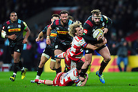 Joe Marler of Harlequins takes on the Gloucester Rugby defence. Aviva Premiership match, between Harlequins and Gloucester Rugby on December 27, 2016 at Twickenham Stadium in London, England. Photo by: Patrick Khachfe / JMP