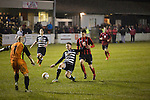 Gretna 0 Dalbeattie Star 0, 11/03/2016. Raydale Park, Lowland League. Goalmouth action at Raydale Park, as Gretna (in stripes) take on Dalbeattie Star in a Scottish Lowland League fixture which ended 0-0. The match was one of six arranged by the league and GroundhopUK over the weekend to accommodate groundhoppers, fans who attempt to visit as many football venues as possible. Around 100 fans in two coaches from England participated in the 2016 Lowland League Groundhop and they were joined by other individuals from across the UK which helped boost crowds at the six featured matches. Photo by Colin McPherson.