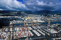 An aerial photograph of the port of Honolulu in Hawaii.