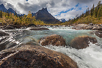 Arrigetch creek, Elephants Tooth Peak in the distance, Arrigetch Peaks, Gates of the Arctic National park, Alaska.