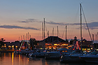 Looking across the marina at Bronte Harbour at dusk