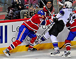 31 January 2009: Los Angeles Kings' defenseman Drew Doughty (8) is checked by Montreal Canadiens left wing forward Steve Begin (22) at the Bell Centre in Montreal, Quebec, Canada. The Canadiens defeated the Kings 4-3. ***** Editorial Sales Only ***** Mandatory Photo Credit: Ed Wolfstein Photo