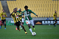 Kenny Cunningham and Kew Raffique Jaliens in action during the A League - Wellington Phoenix v Newcastle Jets Game at Westpac Stadium, Wellington, New Zealand on Sunday 26 October 2014. <br /> Photo by Masanori Udagawa. <br /> www.photowellington.photoshelter.com.