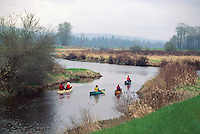 Canoeing on the North Alouette River, in the Pitt Polder Area of the Fraser Valley near Maple Ridge, BC, British Columbia, Canada, Spring