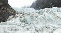 Icefall with crevasses on Fox Glacier, Westland Tai Poutini National Park, UNESCO World Heritage Area, West Coast, New Zealand, NZ