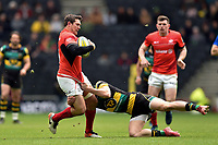 Alex Goode of Saracens is tackled. Aviva Premiership match, between Northampton Saints and Saracens on April 16, 2017 at Stadium mk in Milton Keynes, England. Photo by: Patrick Khachfe / JMP
