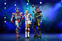 London, UK. 11.05.12. Bill Kenwright presents one of the best loved and longest running musicals in theatrical history, as Andrew Lloyd Webbers Starlight Express, directed and choreographed by Arlene Phillips, puts on its skates and explodes back onto the New Wimbledon Theatre stage with a new production for 2012. L to R: Mykal Rand (Elektra), Amanda Coutts (Pearl), and Jamie Capewell (Greaseball).