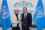 Secretary-General Ban Ki-moon (right) meets with Ulla Torness, Minister for Development Cooperation