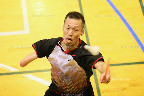 Hironobu Kawabata, <br /> FEBRUARY 6, 2016 - Badminton : <br /> The 1st Japan National Badminton Championships <br /> Men's singles SU5+ <br /> at Kurume city western gymnasium, Fukuoka, Japan. <br /> (Photo by Yohei Osada/AFLO SPORT)
