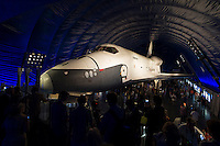 The space shuttle Enterprise is seen shortly after the grand opening of the Space Shuttle Pavilion at the Intrepid Sea, Air & Space Museum on Thursday, July 19, 2012 in New York. . Photo Credit: (NASA/Bill Ingalls)