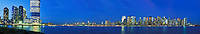 New York, New York City skyline from Jersey City, New Jersey, Dusk, panorama