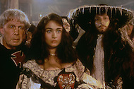"""El Kantaoui, Tunisia, May, 1985. Charlotte Lewis and Antony Peck  on her right during the making of Roman Polanski's movie """"The Pirates""""."""