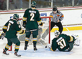 John Gravallese signals BC goal. - The Boston College Eagles defeated the University of Vermont Catamounts 4-1 on Friday, February 1, 2013, at Kelley Rink in Conte Forum in Chestnut Hill, Massachusetts.