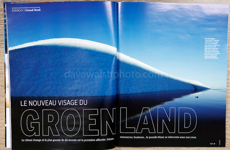 """Le Nouvea visage du Groenland"" - my photograph of an iceberg in Kane Basin, Greenland, makes a double spread in the March 2013 GEO France magazine."