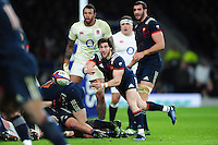 Maxime Machenaud of France passes the ball. RBS Six Nations match between England and France on February 4, 2017 at Twickenham Stadium in London, England. Photo by: Patrick Khachfe / Onside Images