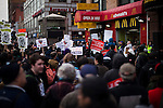People shout slogans for strike in front of a McDonald's restaurant while Fast food workers take part in a  protest for Increased their wages in New York, April 04, 2013. Photo by Eduardo Munoz Alvarez / VIEWpress.