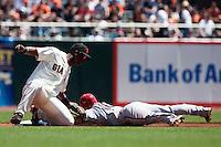 18 April 2009: Arizona Diamondbacks' Augie Ojeada is out at second base as San Francisco Giants' Edgar Renteria tags him during the San Francisco Giants' 2-0 loss to the Arizona Diamondbacks at AT&T Park in San Francisco, CA.