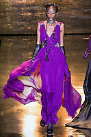 Model walks runway in an outfit from the Badgley Mischka Fall 2011 fashion show, during Mercedes-Benz Fashion Week Fall 2011.