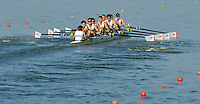 Brest, Belarus.  GBR M8+, Bow. Karl HUDSPITH, Will SATCH, Matthew TARRANT, Calum WRIGHT, Frazer BRENT, Scott DURANT, Antony LOCKE, Michael EVANS and  Cox Henry FIELDMAN.  at the start.  2010. FISA U23 Championships. Friday,  23/07/2010.  [Mandatory Credit Peter Spurrier/ Intersport Images]