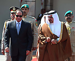 A handout picture made available by the Office of the Egyptian President shows the Egyptian President, Abdel Fattah al-Sisi (L), accompanied by Prince Salman bin Hamad al-Khalifa (R), Crown Prince of the Kingdom of Bahrain, as he prepares to leave Manama, Bahrain, 31 October 2015. According to reports al-Sisi cut short attendance of the eleventh Manama Dialogue security summit in order to return to Egypt following the crashing of the Kogalymavia Metrojet Russian passenger jet carrying 224 passengers in Sinai. Photo by Egyptian President Office