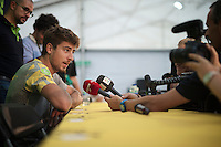 Peter Sagan (SVK/Cannondale) heavily solicited at the pr&eacute;-race press conference in Leeds <br /> <br /> Tour de France 2014