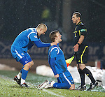 St Johnstone v Partick Thistle....09.02.11  Scottish Cup 5th Round.Liam Craig celebrates his goal with Danny Grainger.Picture by Graeme Hart..Copyright Perthshire Picture Agency.Tel: 01738 623350  Mobile: 07990 594431