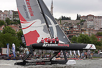 Extreme Sailing Series 2011. Act 3.Turkey . Istanbul.Artemis Racing skippered by Terry Hutchinson with teammates Sean Clarkson, Morgan Trubovich and Julian Cressant.Credit Lloyd Images